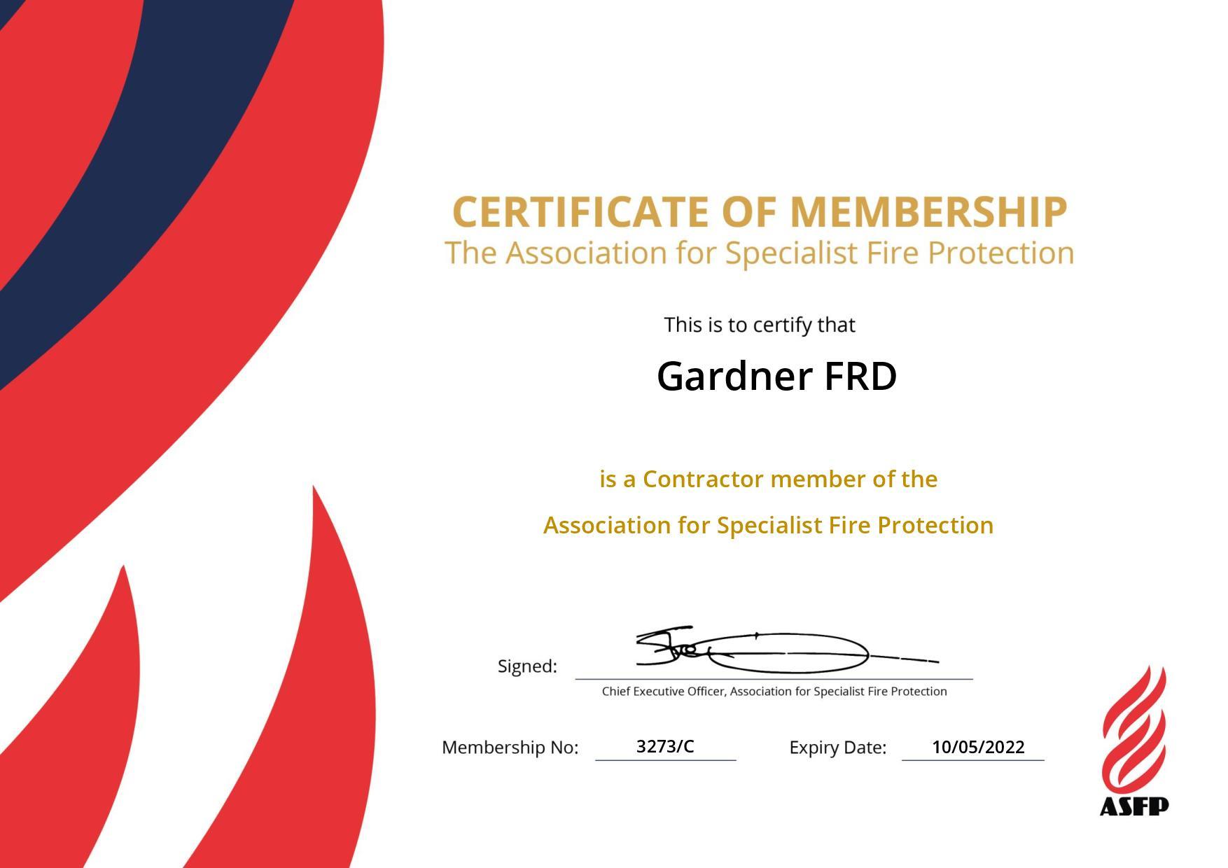 Gardner FRD becomes member of ASFP